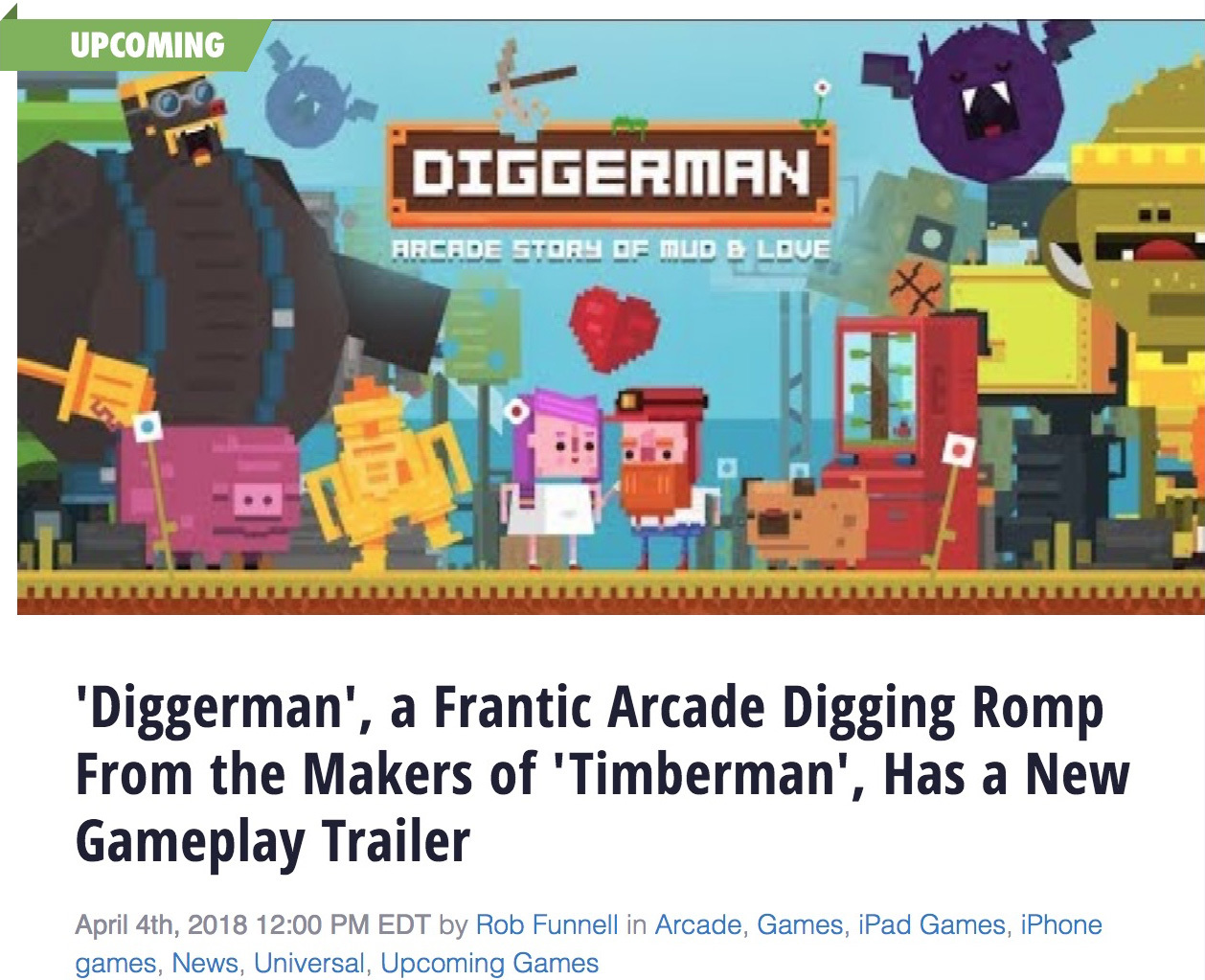 Touch Arcade wrote about our upcoming Diggerman game