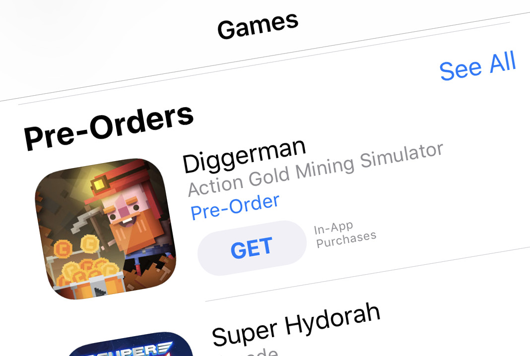Diggerman pre-order is featured on the US Apple App Store! Thank you!